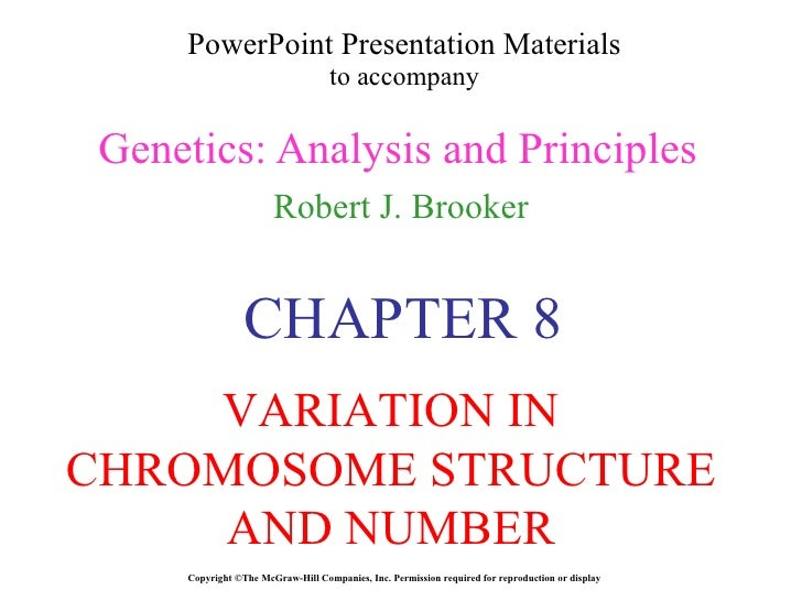 Variation in chromosome structure and number  chapter 8