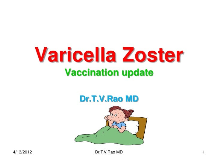 Varicella Zoster               Vaccination update                  Dr.T.V.Rao MD4/13/2012            Dr.T.V.Rao MD   1
