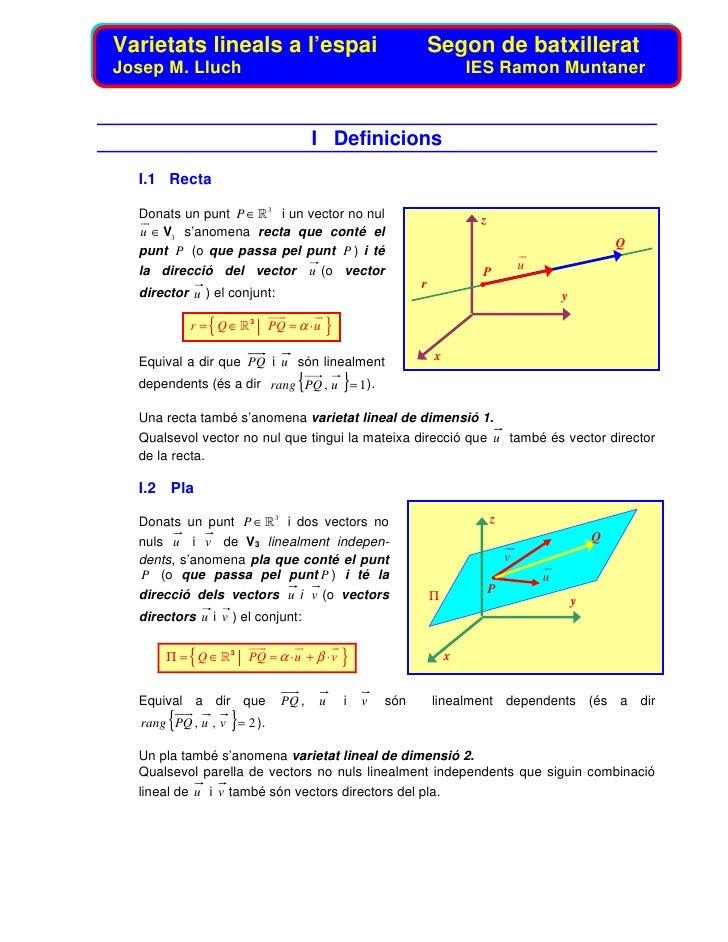 Varietats lineals a l'espai                                    Segon de batxillerat Josep M. Lluch                        ...