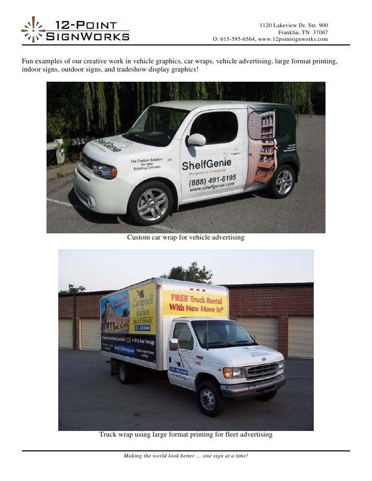 Car Wraps, Vehicle Graphics, and Commercial Signage Examples