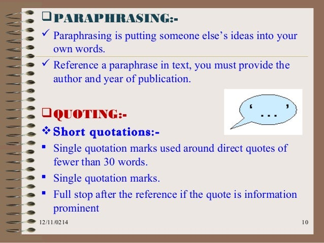 How to reference paraphrasing