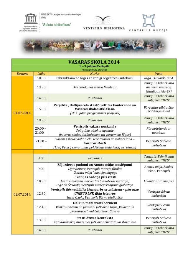 VASARAS SKOLA 2014 1. – 3. jūlijam Ventspilī Programmas projekts Datums Laiks Norise Vieta 01.07.2014. 10:00 Izbraukšana n...