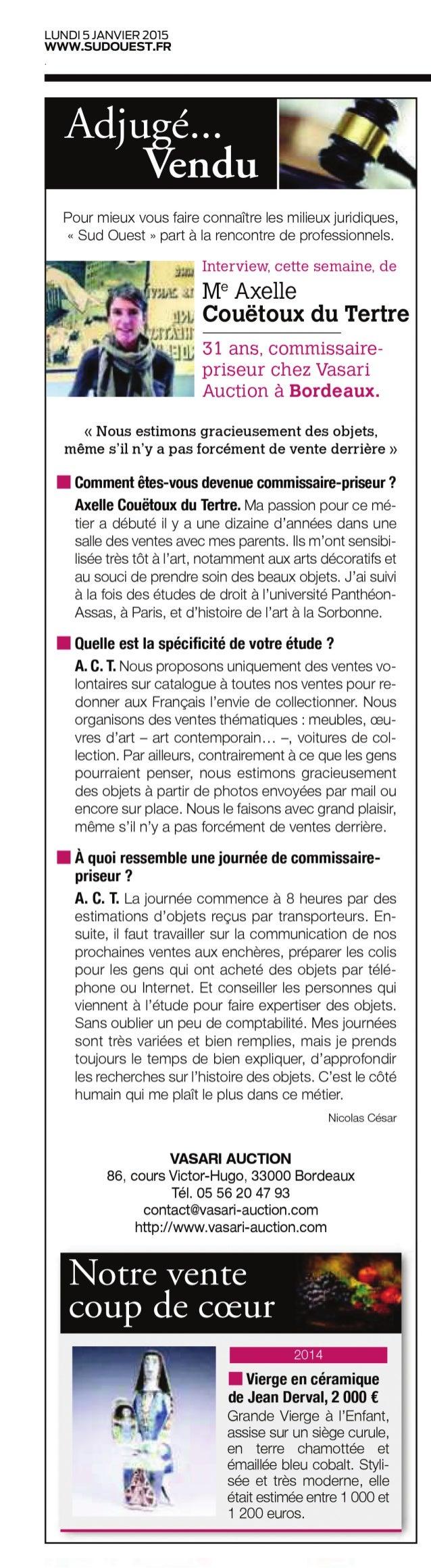 Interview Axelle Couëtoux du Tertre, commissaire-priseur chez Vasari Auction Bordeaux