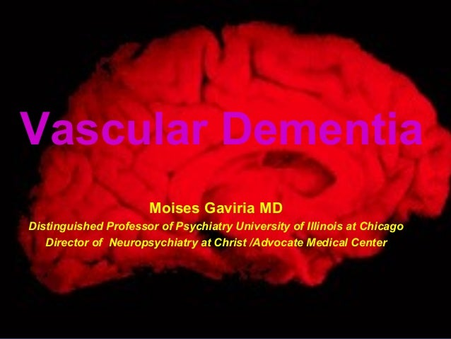 Vascular Dementia Moises Gaviria MD Distinguished Professor of Psychiatry University of Illinois at Chicago Director of Ne...