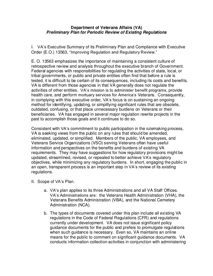 Department of Veteans Affairs Preliminary Regulatory Reform Plan