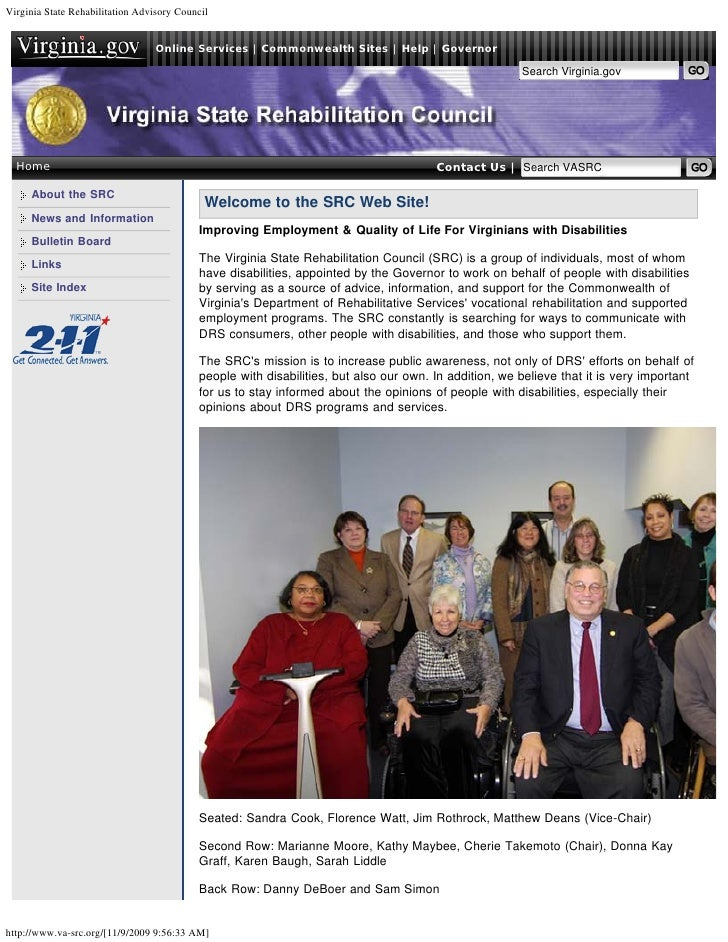Virginia State Rehabilitation Advisory Council                                     Online Services   Commonwealth Sites   ...