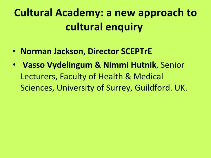 Cultural Academy: a new approach to learning