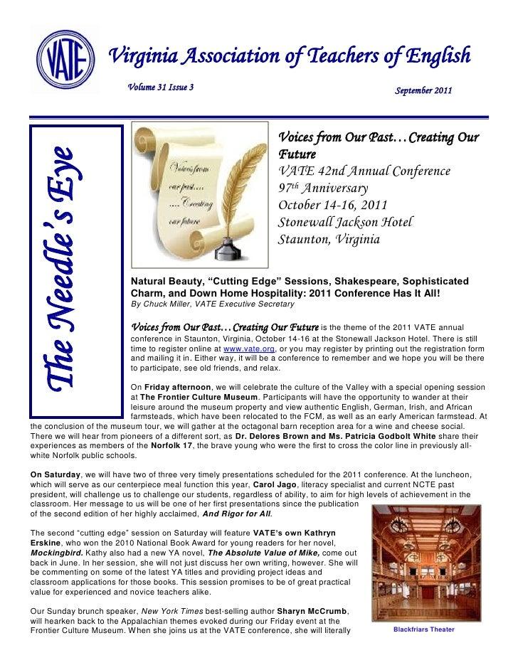 11                     Virginia Association of Teachers of English                          Volume 31 Issue 3             ...