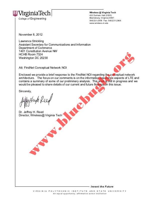 Virginia Tech's response to FirstNet NOI