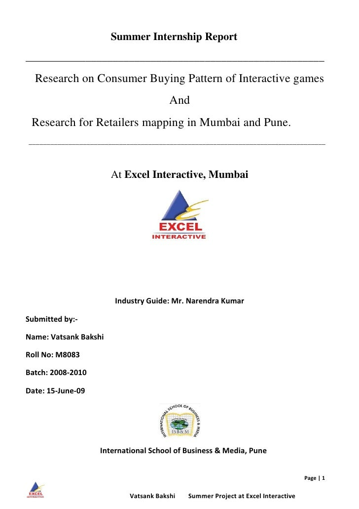 Summer Internship Report _______________________________________________________   Research on Consumer Buying Pattern of ...