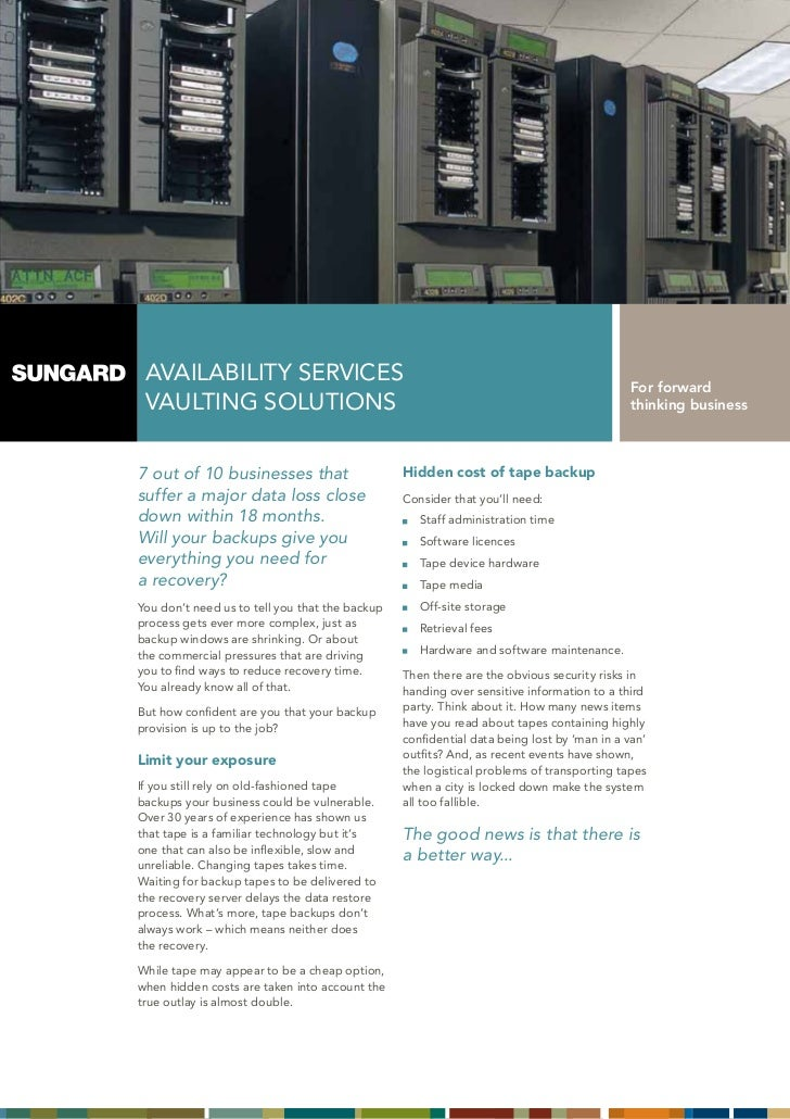 AVAILABILITY SERVICES                                                                    For forward VAULTING SOLUTIONS   ...