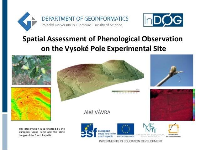 Spatial Assessment of Phenological Observation on the Vysoké Pole Experimental Site  Aleš VÁVRA This presentation is co-fi...