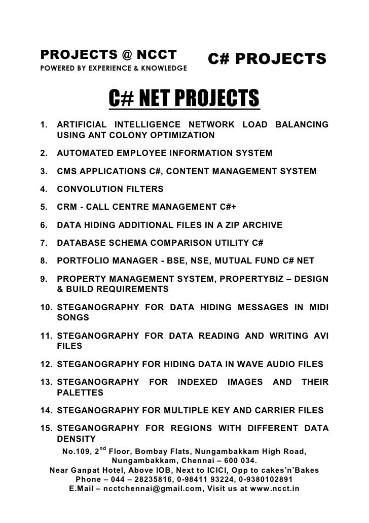 PROJECTS @ NCCT                            C# PROJECTS POWERED BY EXPERIENCE & KNOWLEDGE                       C# NET PROJ...