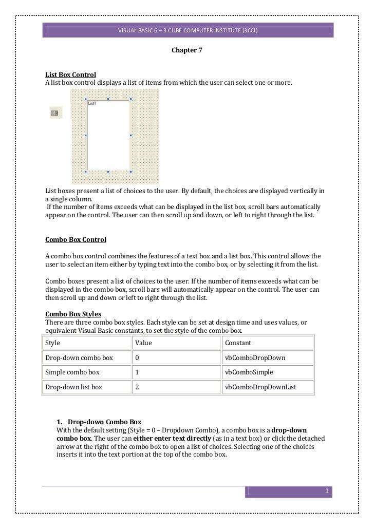 VISUAL BASIC 6 – 3 CUBE COMPUTER INSTITUTE (3CCI)                                             Chapter 7List Box ControlA l...