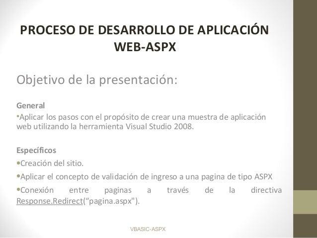 VBASIC-ASPX PROCESO DE DESARROLLO DE APLICACIÓN WEB-ASPX Objetivo de la presentación: General •Aplicar los pasos con el pr...