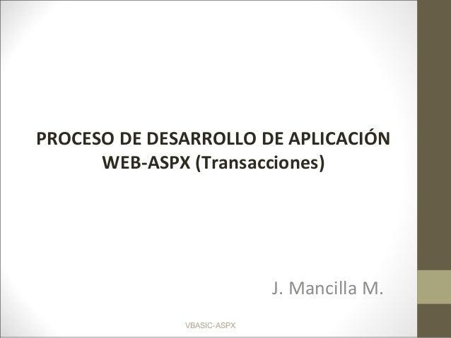 VBASIC-ASPX J. Mancilla M. PROCESO DE DESARROLLO DE APLICACIÓN WEB-ASPX (Transacciones)