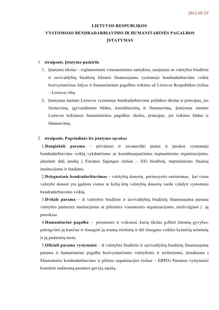 LIETUVOS RESPUBLIKOS  VYSTOMOJO BENDRADARBIAVIMO IR HUMANITARINĖS PAGALBOS ĮSTATYMO PROJEKTAS 05-25