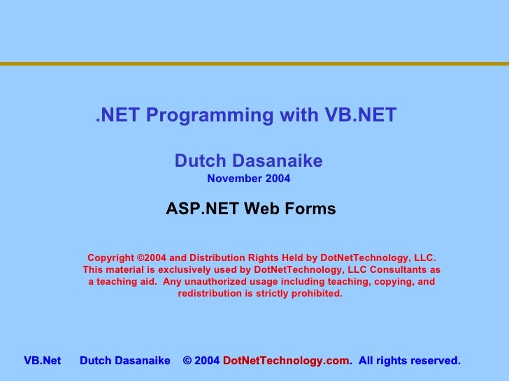 Vb.Net  Web Forms