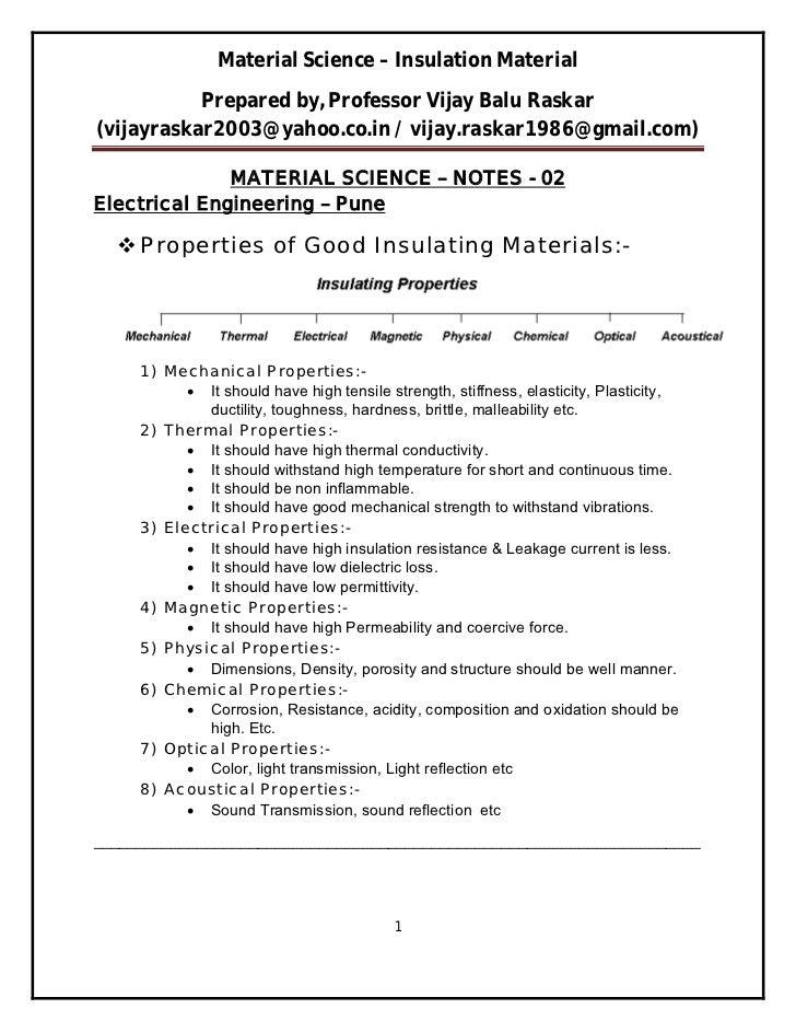 Material Science – Insulation Material           Prepared by, Professor Vijay Balu Raskar(vijayraskar2003@yahoo.co.in / vi...