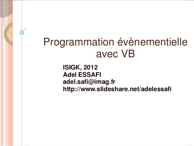 Cours VB 2012 seance 1