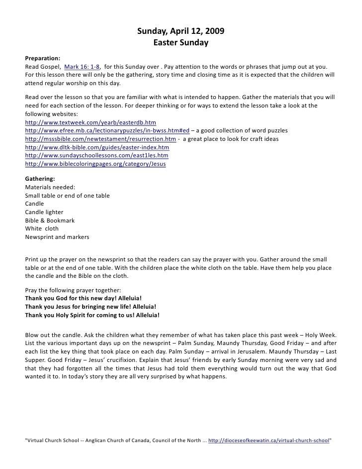 Sunday,April12,2009                                                   EasterSunday  Preparation: ReadGospel,Ma...