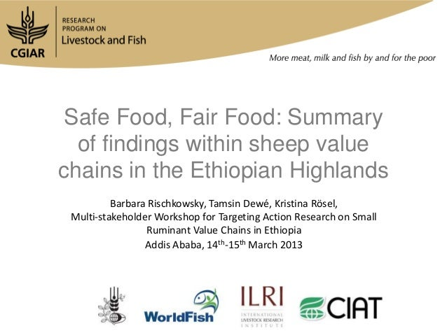 Safe Food, Fair Food: Summary of findings within sheep value chains in the Ethiopian Highlands