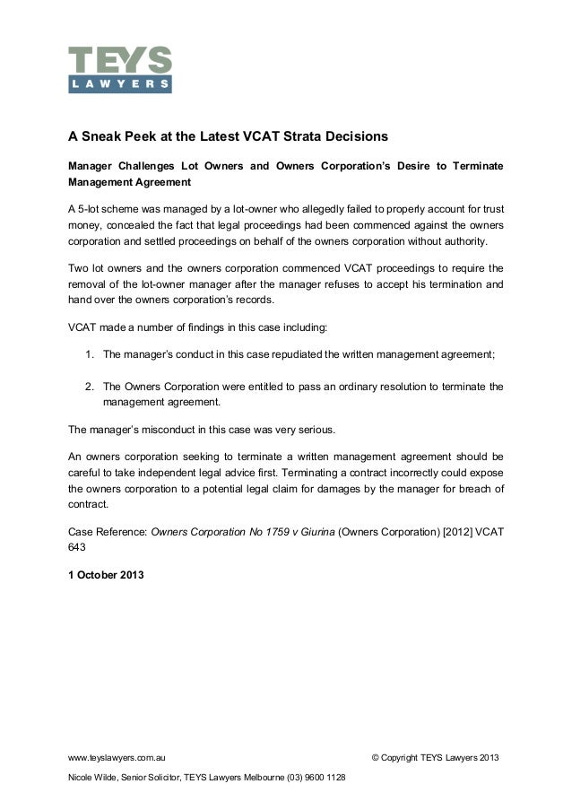 VCAT Sneak Peek Manager Challenges Lot Owners and OC Desire to Terminate Management Agreement 1 October 2013