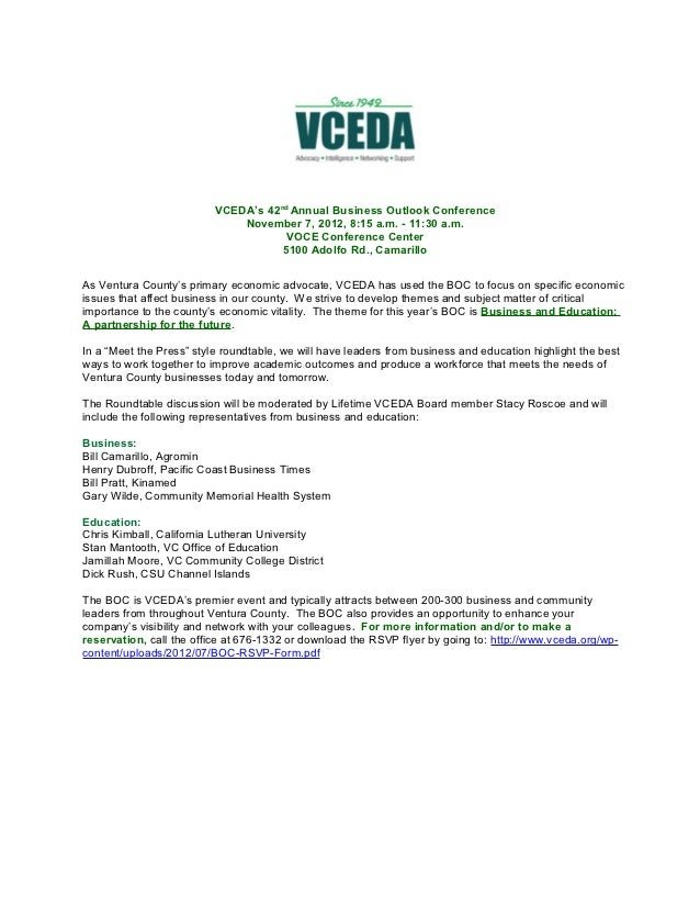 VCEDA's 42nd Annual Business Outlook Conference                              November 7, 2012, 8:15 a.m. - 11:30 a.m.     ...