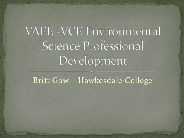 VAEE VCE Environmental Science PD
