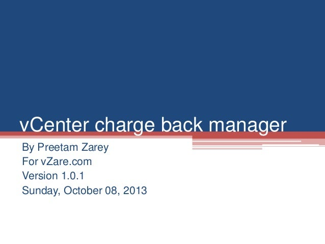 My notes on vCenter charge back manager