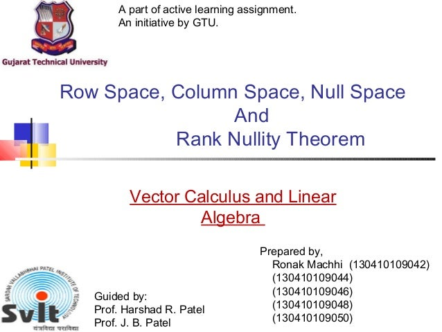 Null Space Rank And Nullity Theorem