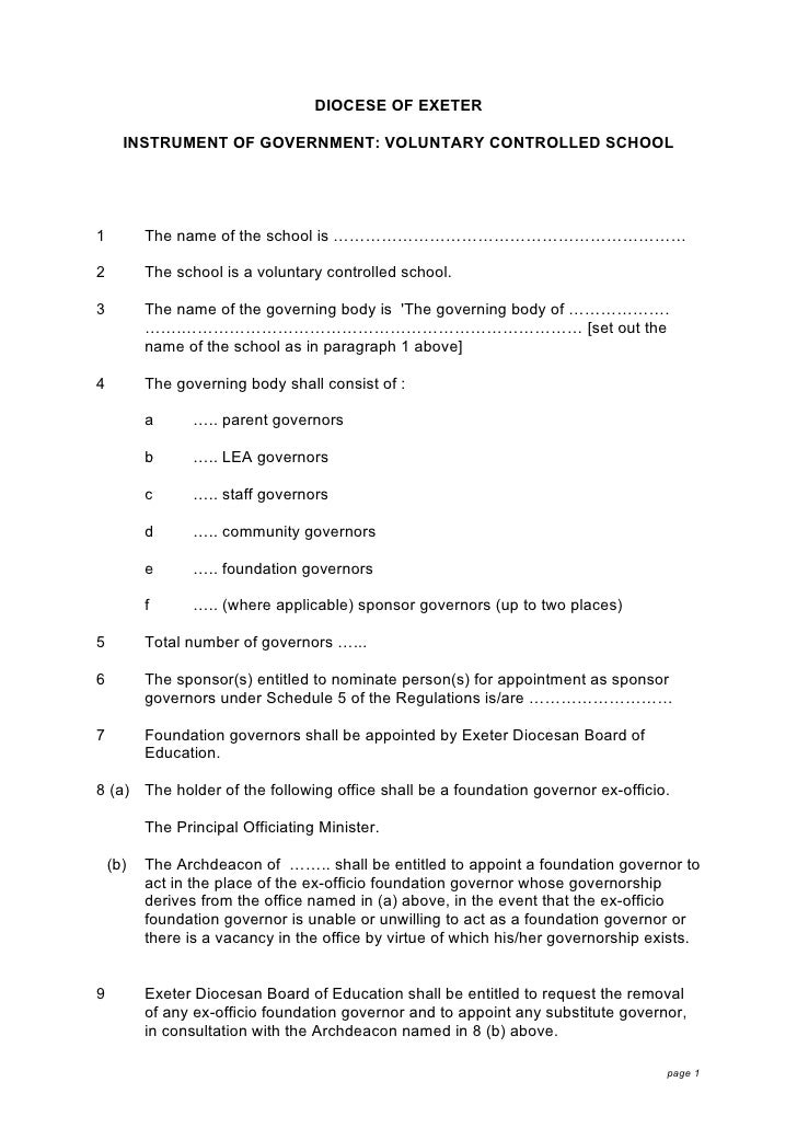 DIOCESE OF EXETER        INSTRUMENT OF GOVERNMENT: VOLUNTARY CONTROLLED SCHOOL     1         The name of the school is ………...