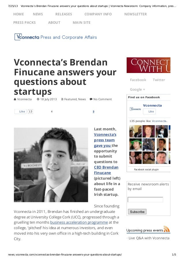 7/25/13 Vconnecta's Brendan Finucane answers your questions about startups | Vconnecta Newsroom: Company information, pres...