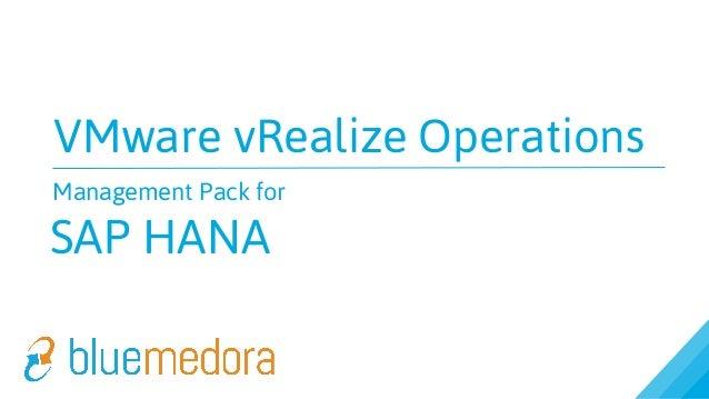 VMware vCenter Operations (vCOps) Management Pack for SAP HANA Overview