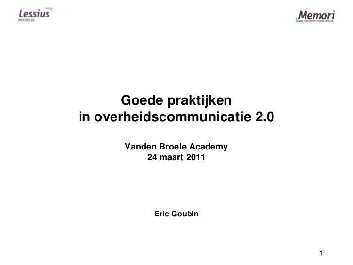 Goede praktijken in overheidscommunicatie 2.0