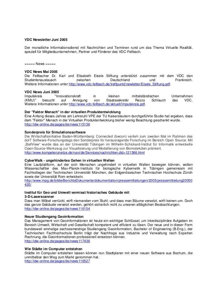 VDC Newsletter Juni 2005Der monatliche Informationsdienst mit Nachrichten und Terminen rund um das Thema Virtuelle Realitä...