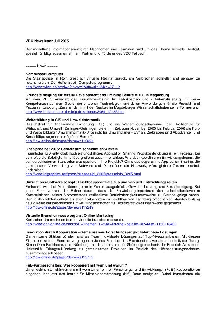 VDC Newsletter Juli 2005Der monatliche Informationsdienst mit Nachrichten und Terminen rund um das Thema Virtuelle Realitä...