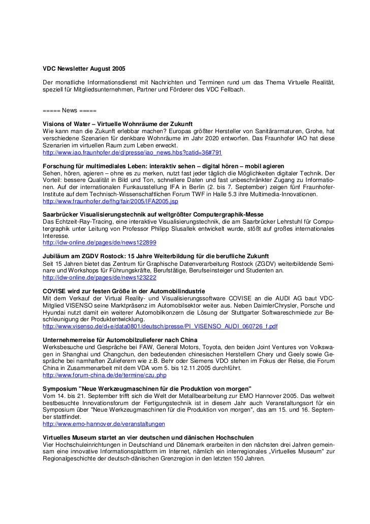 VDC Newsletter August 2005Der monatliche Informationsdienst mit Nachrichten und Terminen rund um das Thema Virtuelle Reali...