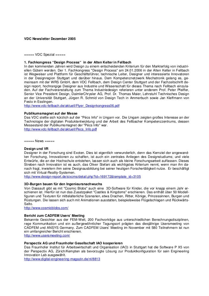 """VDC Newsletter Dezember 2005===== VDC Spezial =====1. Fachkongress """"Design Process"""" in der Alten Kelter in FellbachIn den ..."""
