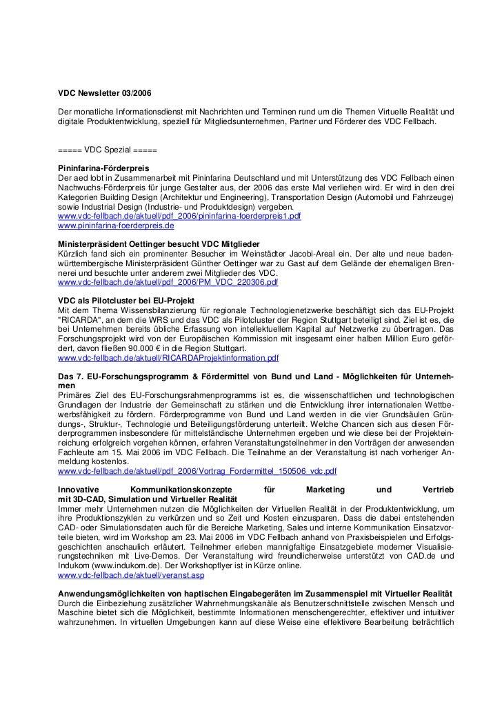 VDC Newsletter 03/2006Der monatliche Informationsdienst mit Nachrichten und Terminen rund um die Themen Virtuelle Realität...