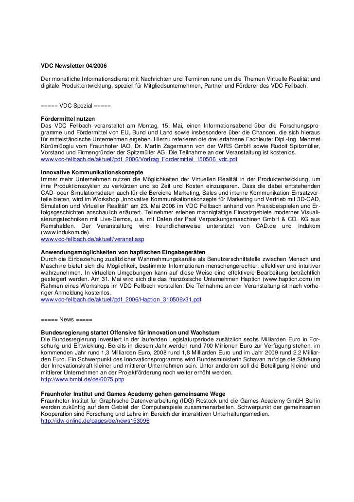 VDC Newsletter 04/2006Der monatliche Informationsdienst mit Nachrichten und Terminen rund um die Themen Virtuelle Realität...