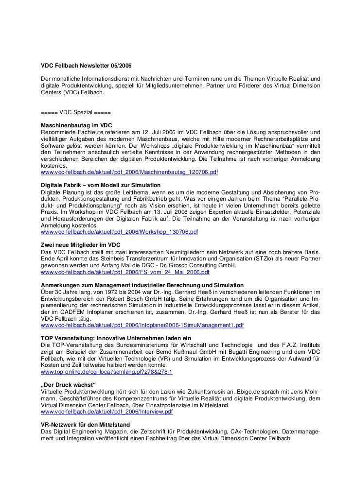 VDC Fellbach Newsletter 05/2006Der monatliche Informationsdienst mit Nachrichten und Terminen rund um die Themen Virtuelle...