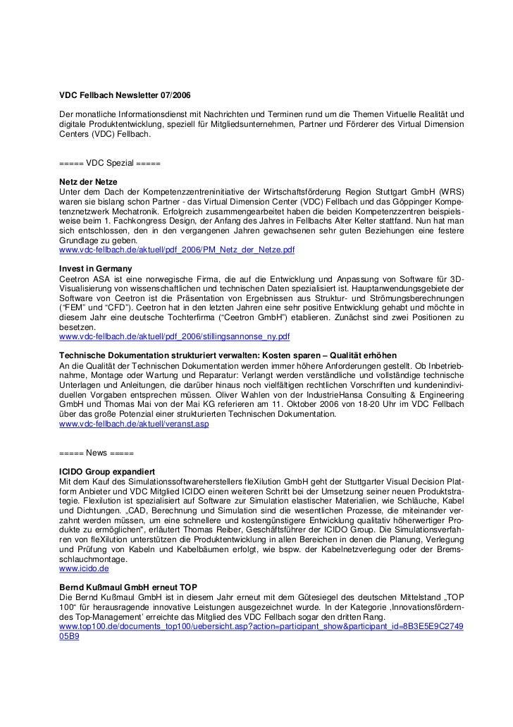 VDC Fellbach Newsletter 07/2006Der monatliche Informationsdienst mit Nachrichten und Terminen rund um die Themen Virtuelle...