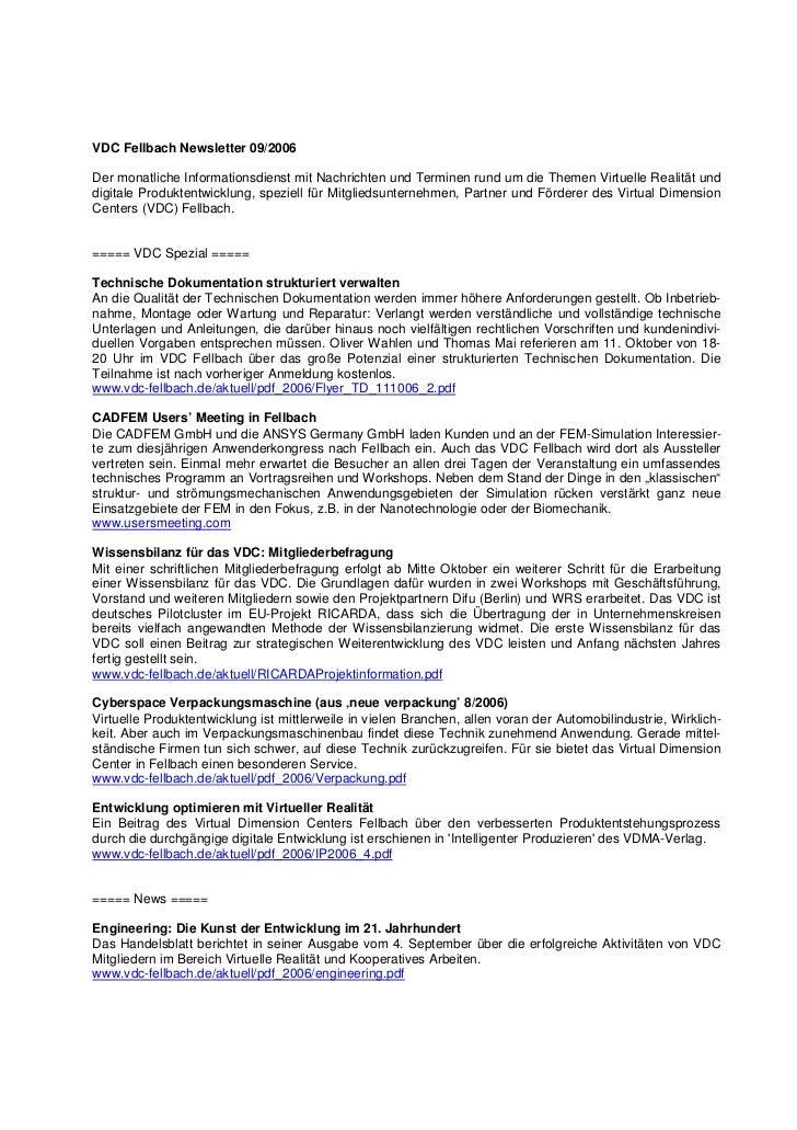 VDC Fellbach Newsletter 09/2006Der monatliche Informationsdienst mit Nachrichten und Terminen rund um die Themen Virtuelle...