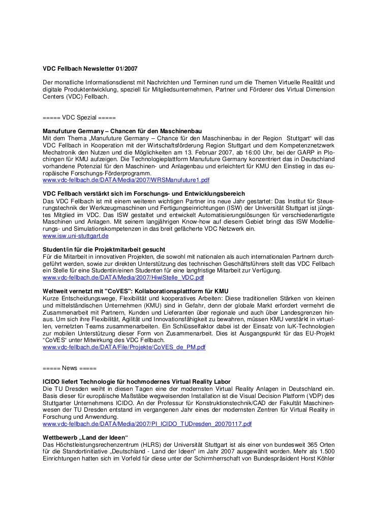VDC Fellbach Newsletter 01/2007Der monatliche Informationsdienst mit Nachrichten und Terminen rund um die Themen Virtuelle...