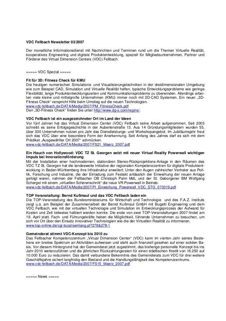VDC Fellbach Newsletter 03/2007Der monatliche Informationsdienst mit Nachrichten und Terminen rund um die Themen Virtuelle...