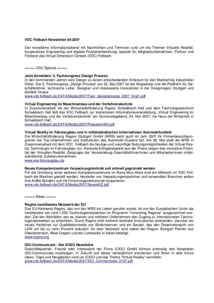 VDC Fellbach Newsletter 04/2007Der monatliche Informationsdienst mit Nachrichten und Terminen rund um die Themen Virtuelle...