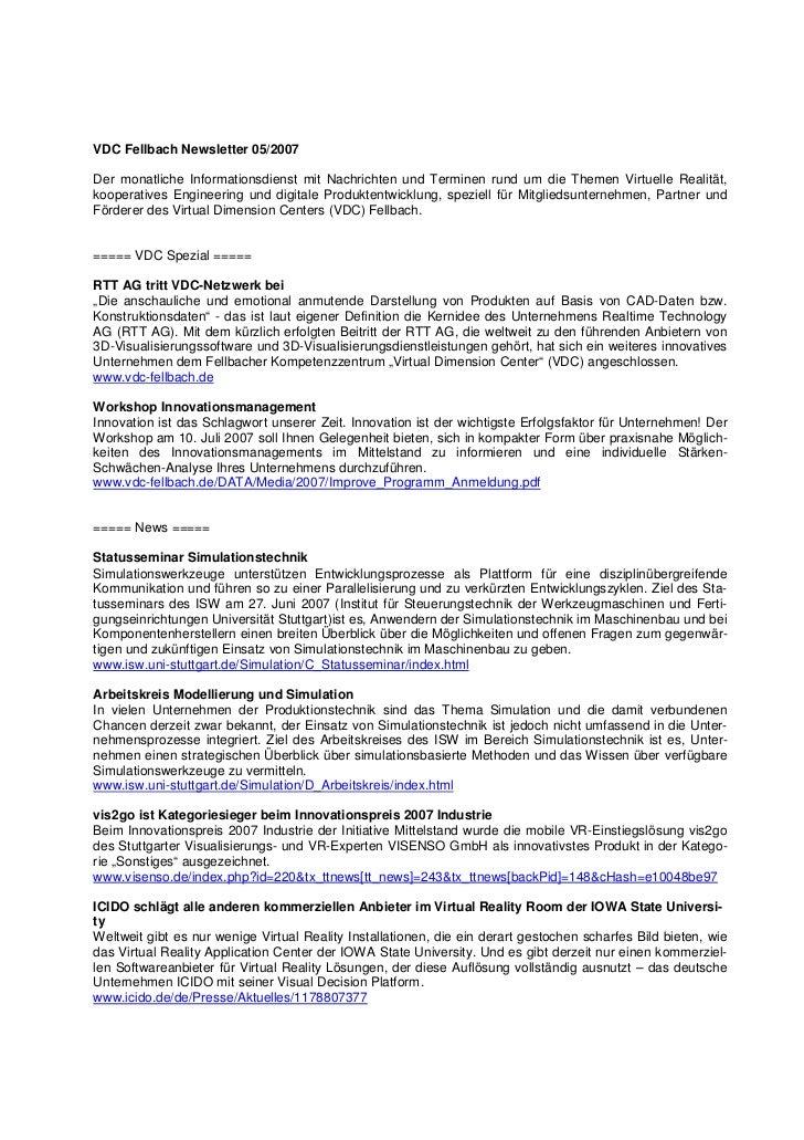 VDC Fellbach Newsletter 05/2007Der monatliche Informationsdienst mit Nachrichten und Terminen rund um die Themen Virtuelle...
