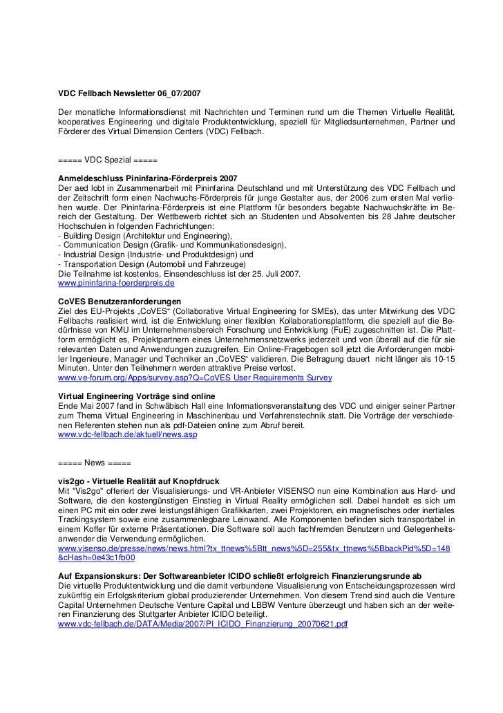 VDC Fellbach Newsletter 06_07/2007Der monatliche Informationsdienst mit Nachrichten und Terminen rund um die Themen Virtue...