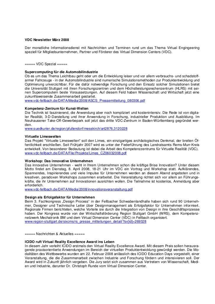 VDC Newsletter März 2008Der monatliche Informationsdienst mit Nachrichten und Terminen rund um das Thema Virtual Engingeer...